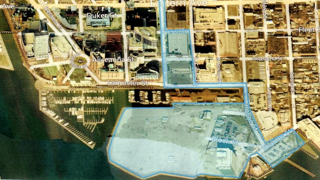 The extension of Central Ave. over an old canal to Harbor Point (in blue) will become the new north-south thoroughfare. (Courtesy of Harbor East Development)