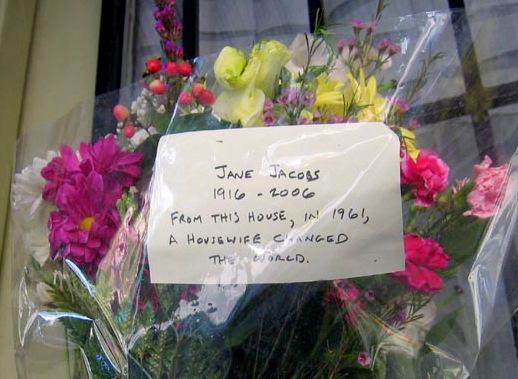 Memorial left at Jane Jacobs' house, 555 Hudson Street, in New York.
