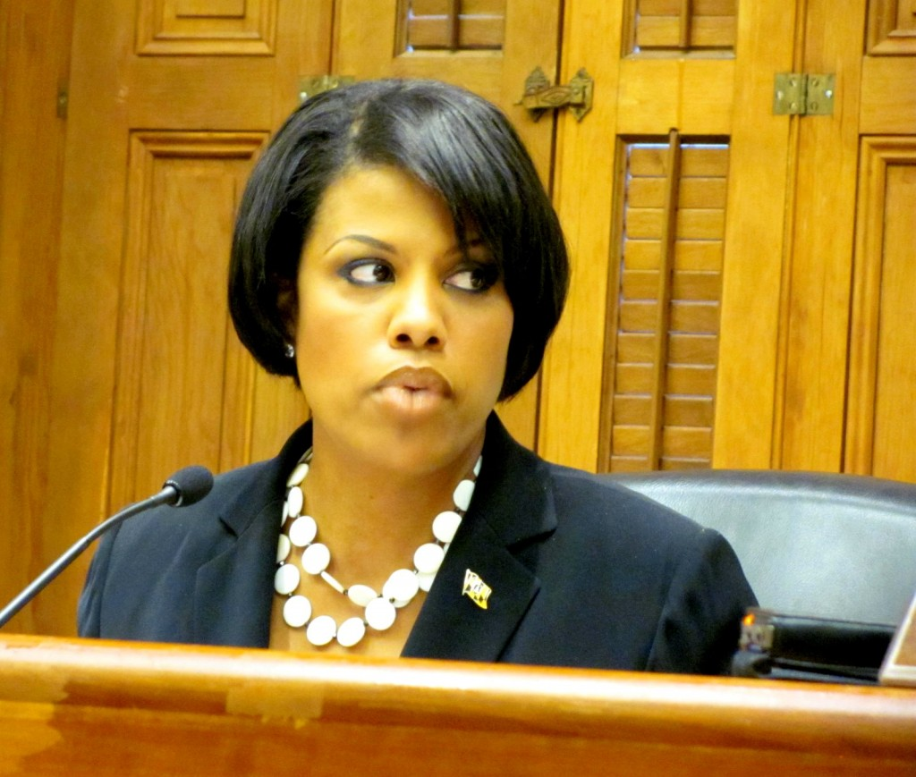 Mayor Rawlings-Blake at Board of Estimates last June. (Photo by Mark Reutter)
