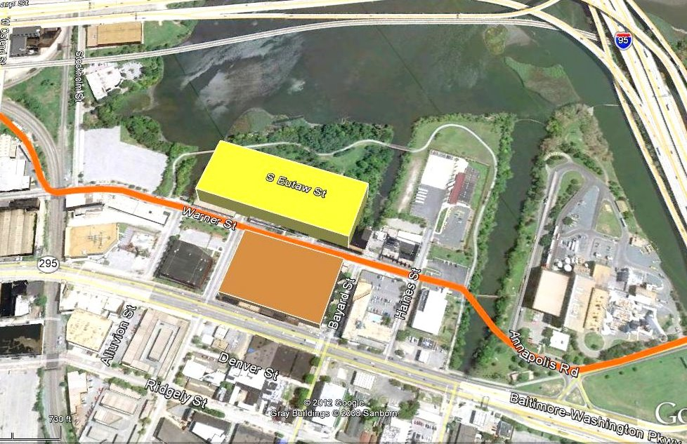 The brown box, fronted by Russell Street (I-295), is the site of the video lottery terminal building, while a 4,000-car garage will be located in garage (yellow box). Under latest plan, Warner Street between the two structures will be permanently closed.