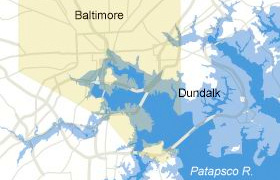 Kiss Dundalk and lots of downtown Baltimore bye-bye whenever sea levels rise 25 feet. (Information graphic, The New York Times)
