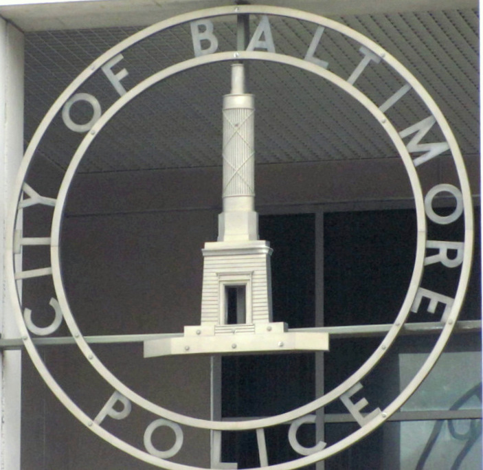 Entrance to police headquarters on East Fayette Street. (Photo by Mark Reutter)