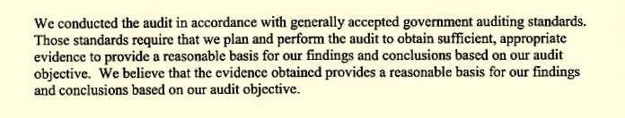 The HUD audit provided this summary of following generally accepted government auditing standards.