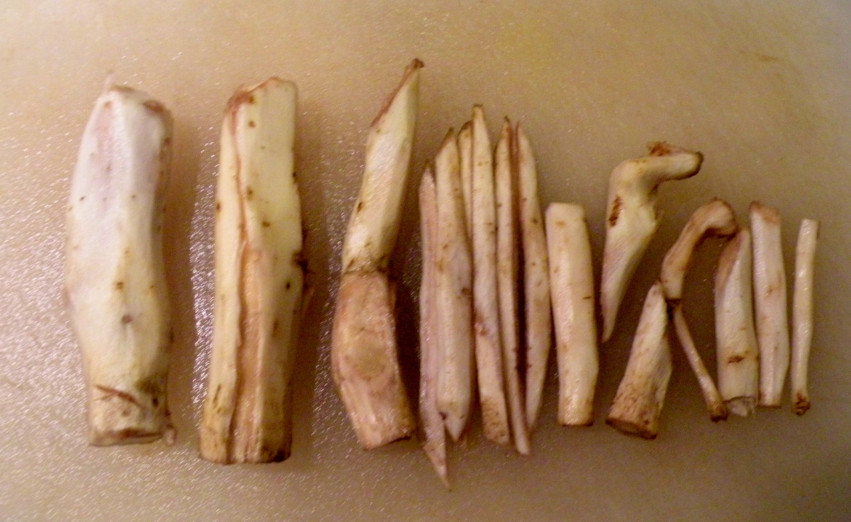 Burdock roots peeled and ready for slicing. (Photo by Marta Hanson)