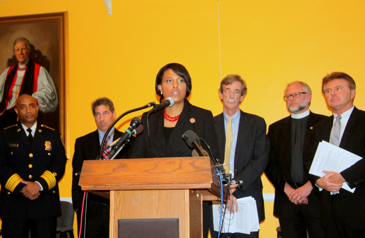 Announcing support for gun control measures: Baltimore Police Commissioner Anthony Batts, Sen. Jamie Raskin, Mayor Stephanie Rawlings-Blake, Sen. Brian Frosh, Rev. Hal Hayek and Montgomery County State's Attorney John McCarthy.