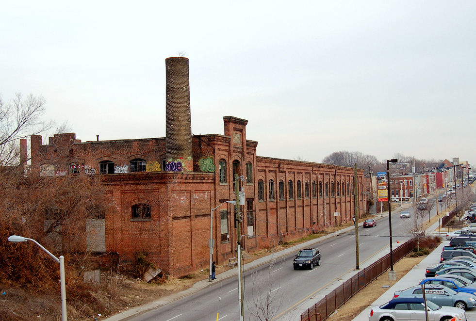 The 100-year-old former ice-making plant sits across Franklin Street from the MARC train parking lot.