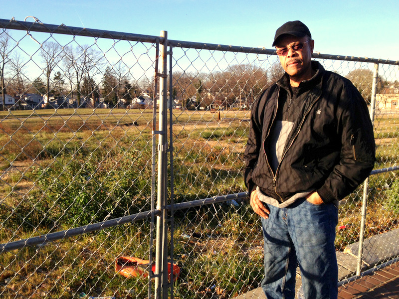 Howard Park community president Preston Greene stands in front of the cleared ShopRite site this morning.