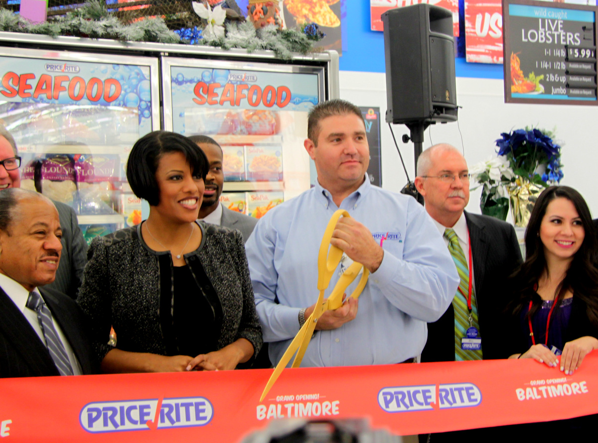 Mayor Stephanie Rawlings-Blake at the ribbon-cutting for a new PriceRite supermarket in southwest Baltimore.