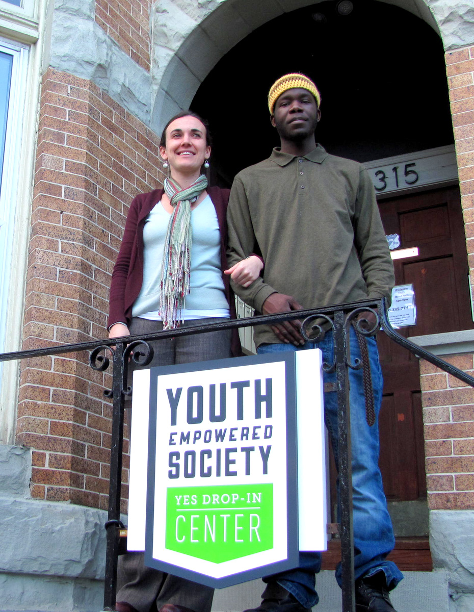 YES director Lara Law and homeless advocate Davon Ferguson stand outside the new drop-in center on Charles St. (Photo by Mark Reutter)
