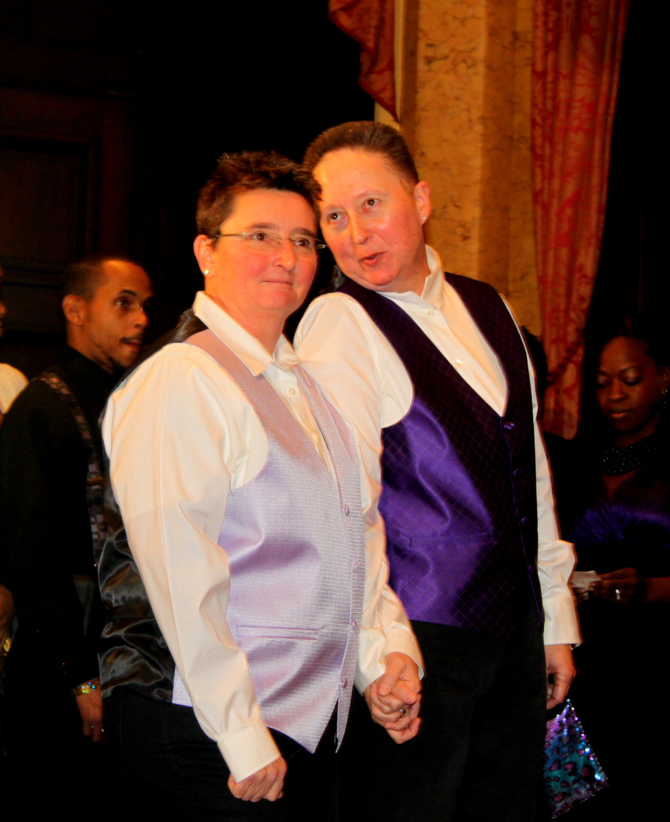 Lisa Walther and Brigitte Ronnett wait their turn to be married at Baltimore City Hall. (Photo by Louie Krauss)