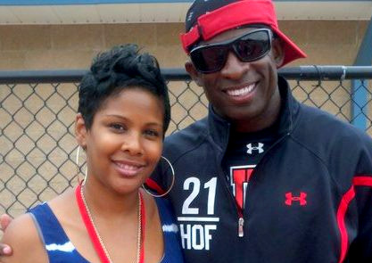 Syreeta Hubbard with NFL Network analyst, and former pro cornerback, Deion Sanders.
