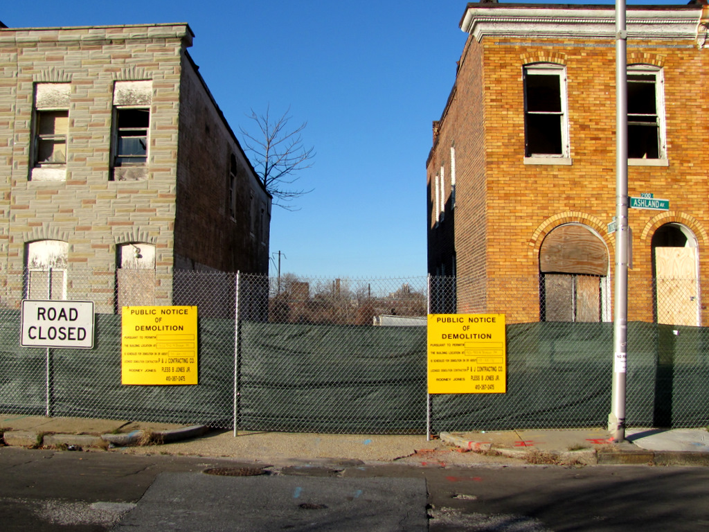 Houses slated to be torn down on Ashland Avenue as part of the EBDI project in 2011. (Photo by Mark Reutter)