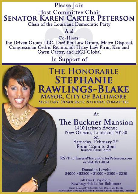 Today's fundraiser for the newly named secretary of the Democratic National Committee. (Flyer from Rawlings-Blake for Baltimore)