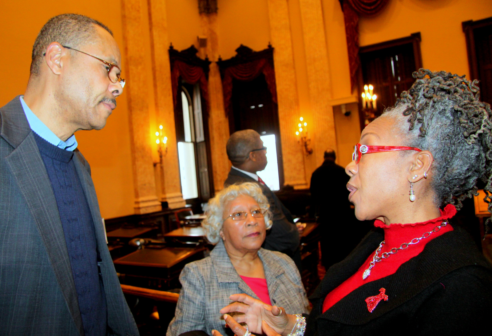 Left to right, Preston Greene, Helena Hicks and Councilwoman Helen Holton. (Photo by Fern Shen)
