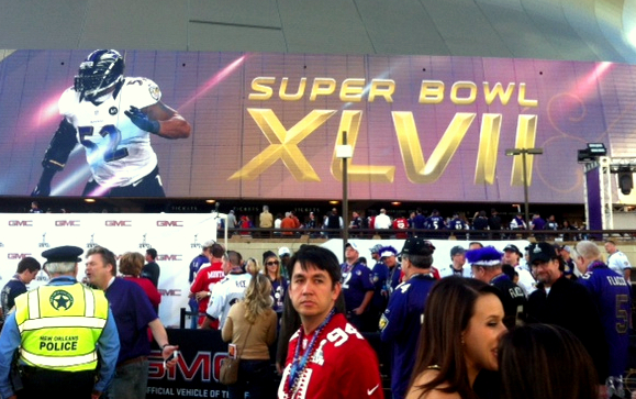 Fans inside the Superbowl before the lights conked out. (Photo by Dean Bartoli Smith)