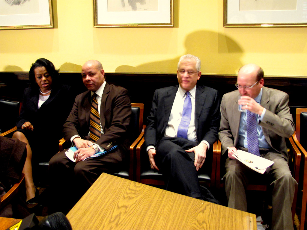 City Comptroller Joan Pratt, Finance Director Harry Black, managing director of the PFM Group Mike Nadol and Budget Director Andrew Kleine at today's press briefing. (Photo by Mark Reutter)