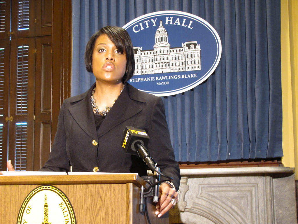 Mayor Rawlings-Blake lays out her budget plan at a news conference on Wednesday. (Photo by Mark Reutter)