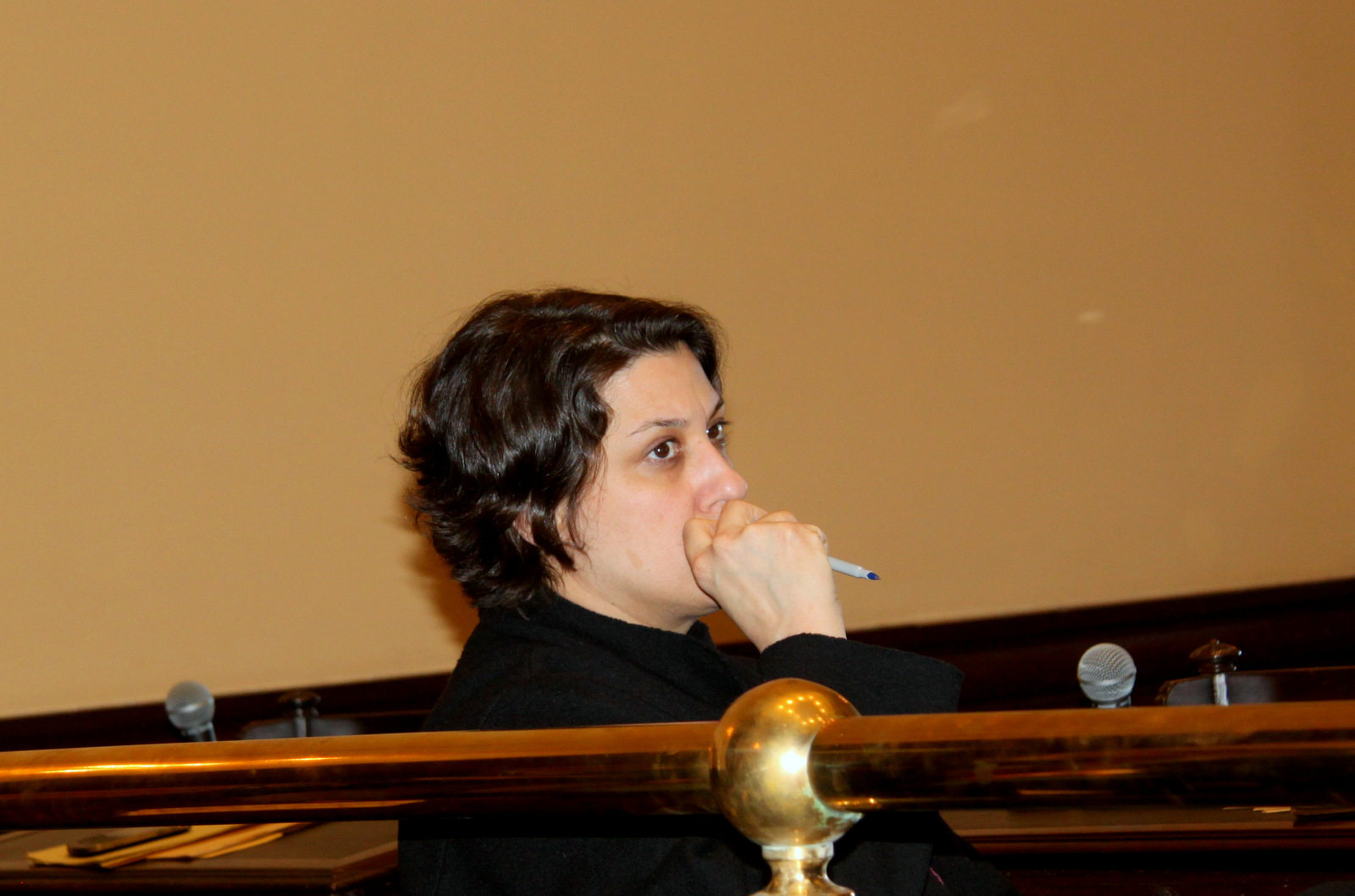 Kate Briddell, director of homeless services for the city, at yesterday's hearing. (Photo by Fern Shen)