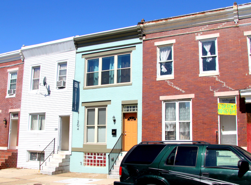 Seawall Development renovated this rowhouse on Lorraine Avenue for sale. (Photo by Fern Shen)