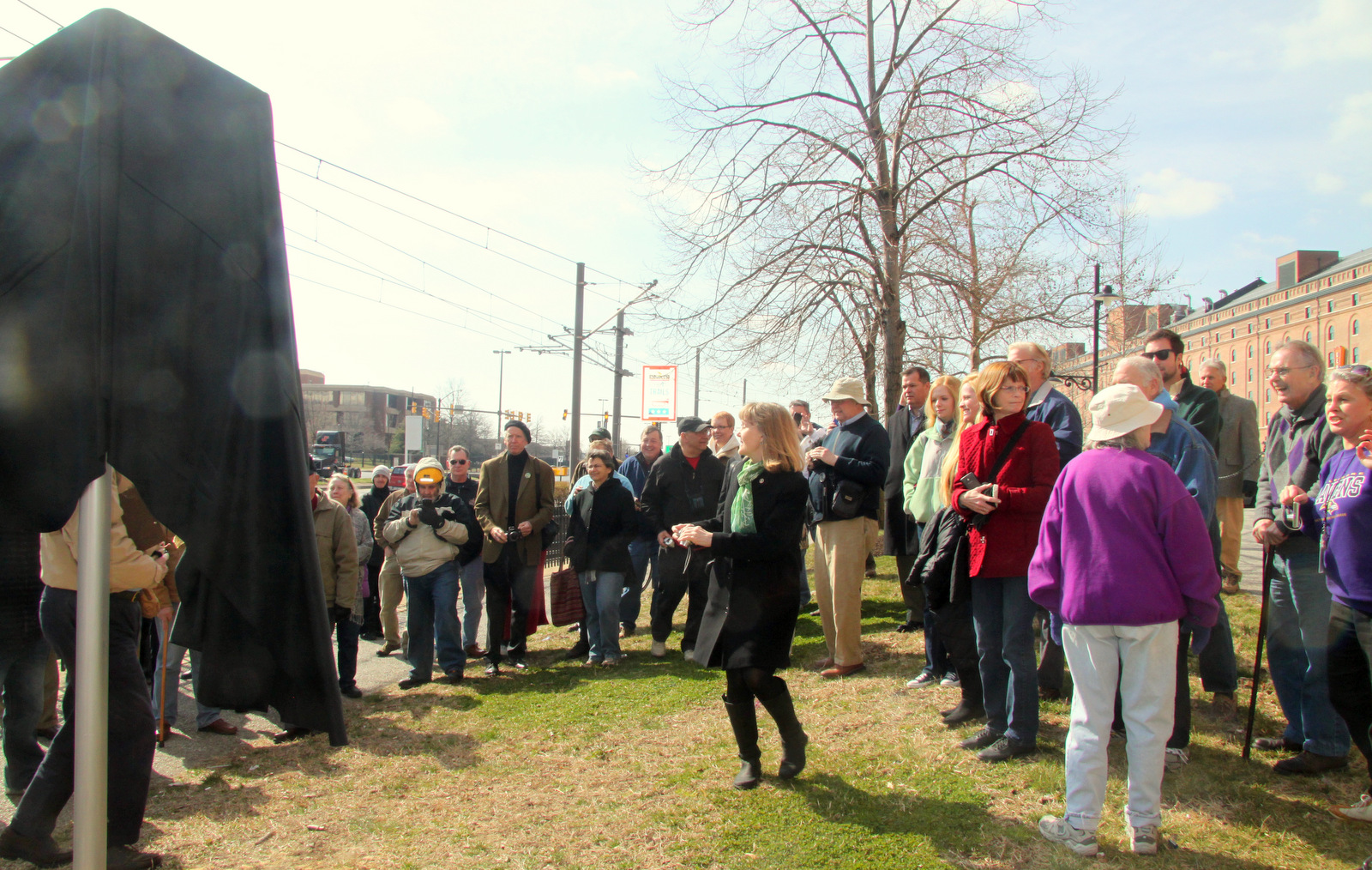 About 40 people came for the unveiling of the marker. (Photo by Fern Shen)