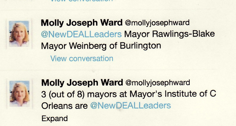 These tweets yesterday by Molly Joseph Ward, mayor of Hampton, Va., cited Mayor Rawlings-Blake's participation at the Mayors' Institute sessions in New Orleans.