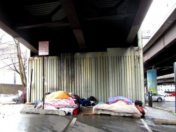 Homeless encampment, two blocks from City Hall, slated for eviction in the near future.