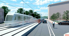 An artist's rendition of the Red Line emerging from tunnel on Boston Street. (Maryland Transit Administration)