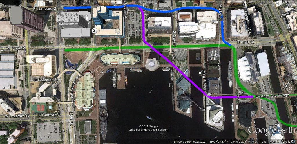 Possible routes of a surface streetcar network creating a natural flow of transit for Inner Harbor visitors and residents. (Prepared by Gerald Neily)