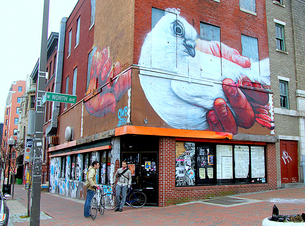 The old New York Fried Chicken restaurant pre-renovation last year (with Open Walls Mural above). (Photo by Fern Shen)