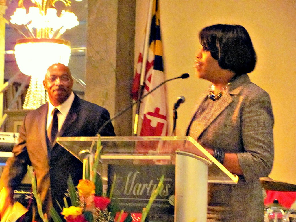 Pless Jones (left) hosted Mayor Rawlings-Blake at a Maryland Minority Contractors banquet at Martin's West in July 2011. (Photo by Mark Reutter)