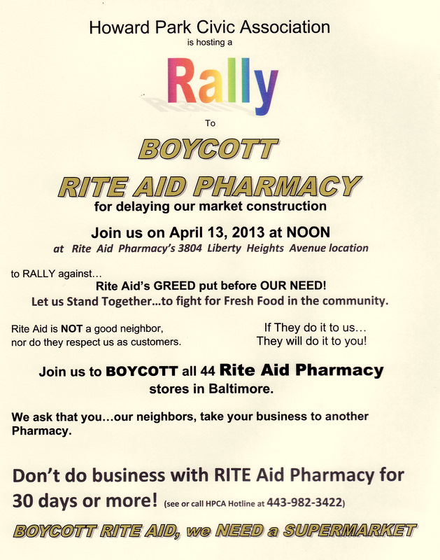 The RiteAid boycott, scheduled to start this Saturday, is now in effect because of pending legal action. (Courtesy, Howard Park Civic Association)
