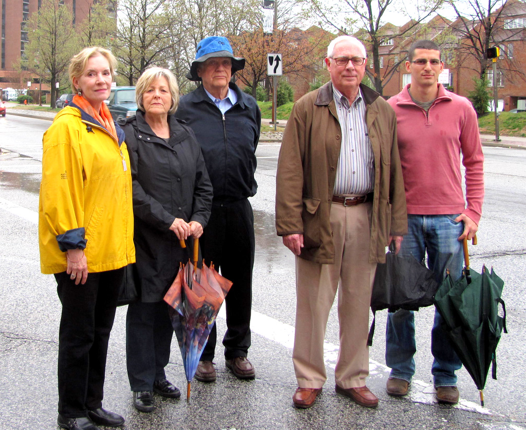 Founding members of Right Rail Coalition (from left): Maris St. Cyr, Kathy Epstein, Art Cohen, Ben Rosenberg and Marty Taylor. (Photo by Mark Reutter)