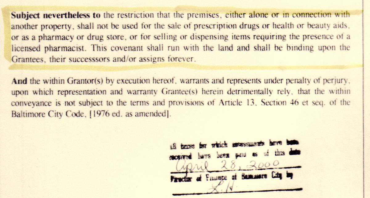 Copy of the original restrictive covenant inserted by RiteAid in 2000 that has caused so much grief for Howard Park. (MDLandRec.net)