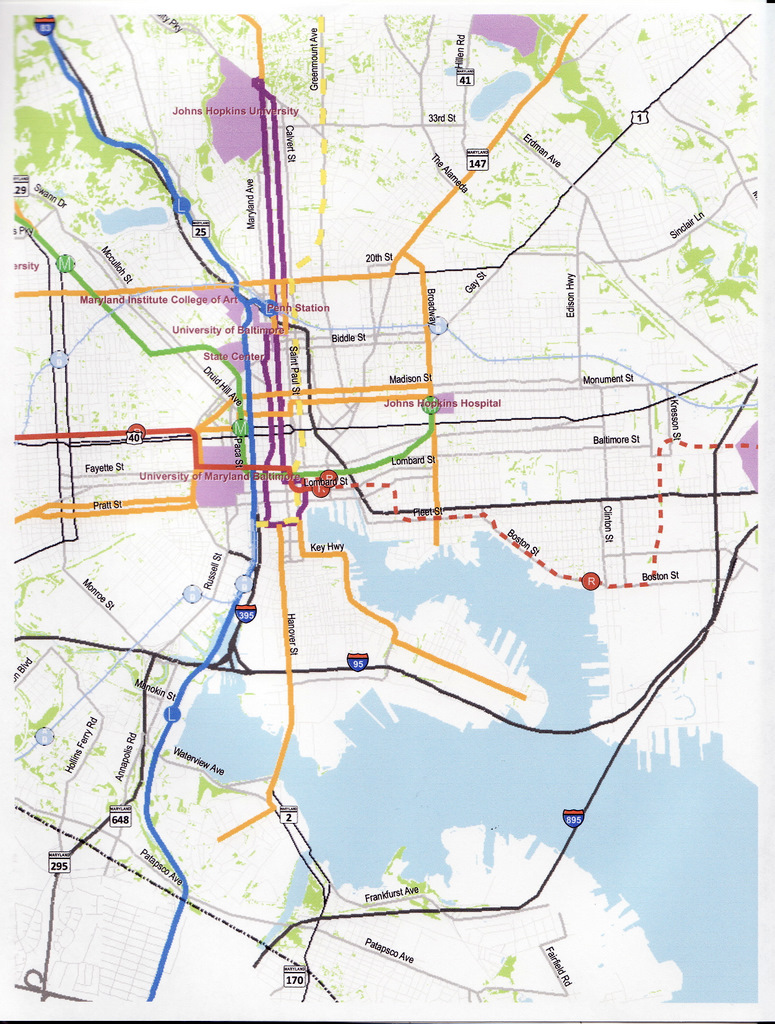 Part of a proposed Baltimore streetcar network replacing the eastern segment of the Red Line (dotted line). Courtesy of the Baltimore Streetcar