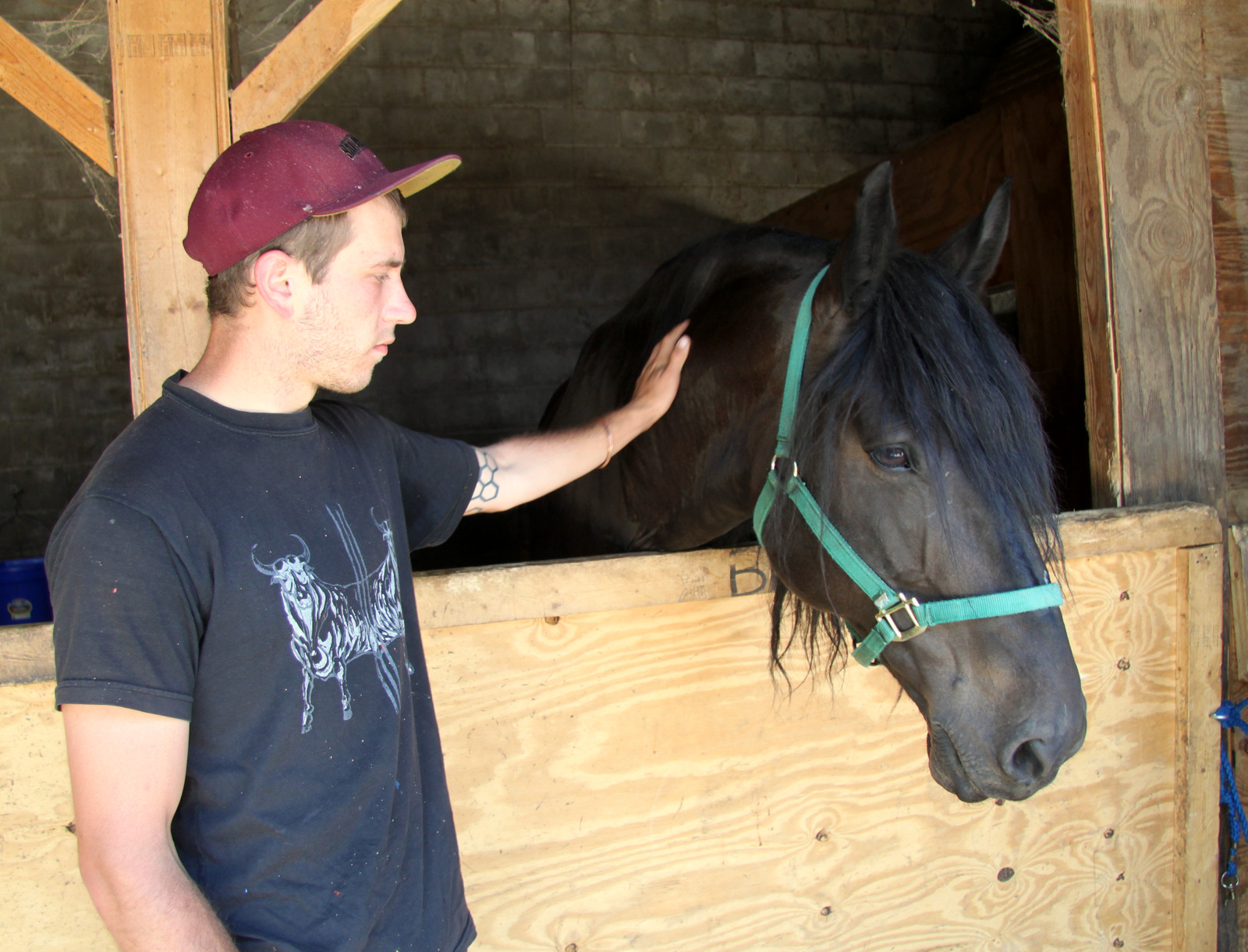 The artist Nanook, with one of the older horses, Ben. (Photo by Fern Shen)
