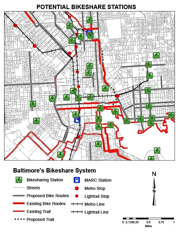 Planned locations for bikeshare kiosks. (Courtesy of Baltimore DOT)