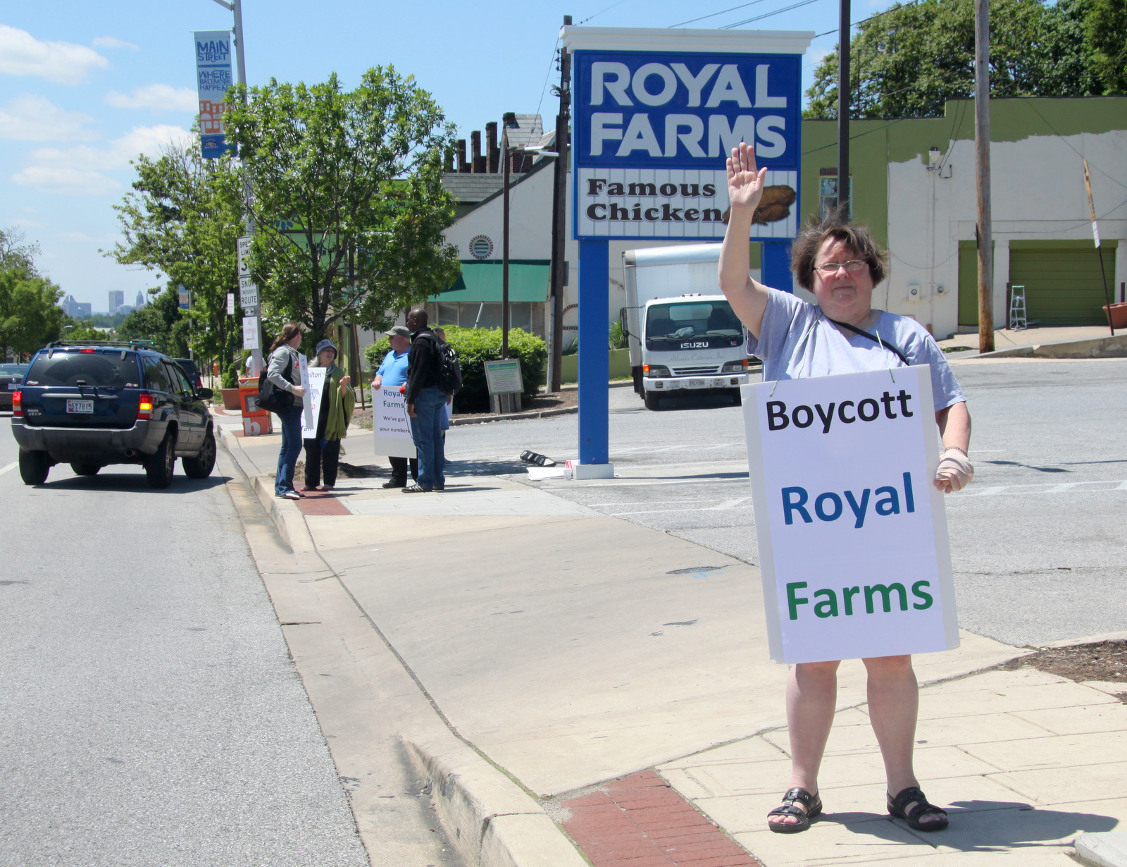 Opponents of a 12-pump Royal Farms in Hamilton have been picketing at the smaller store nearby.