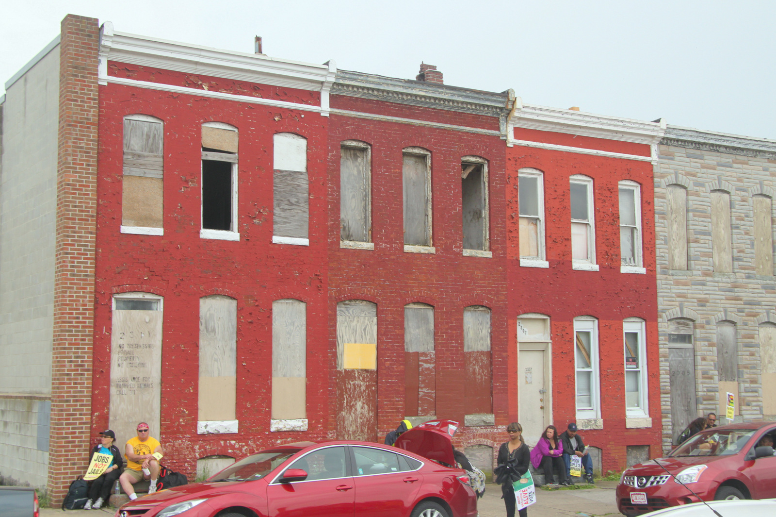 How East Biddle Street looked yesterday during rally. (Photo by Louie Krauss).