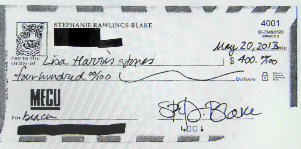 Check written out by the mayor paying for her stay, with her daughter, with Jones at her townhouse. (Office of the Mayor)