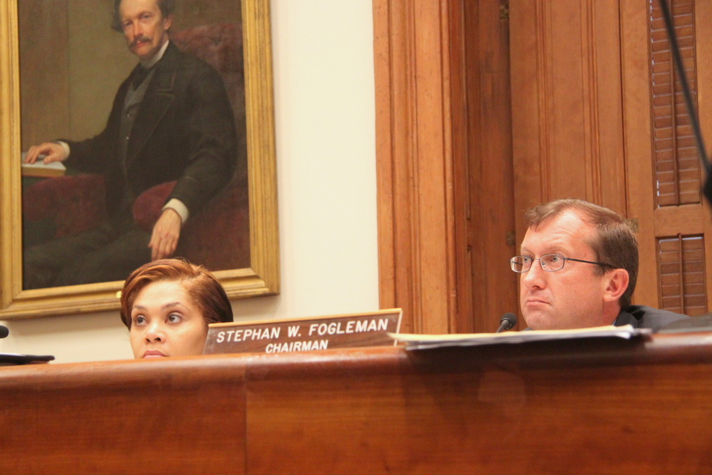 Commissioners Elizabeth C. Smith and Stephan W. Fogleman listen to testimony. (Photo by Fern Shen)