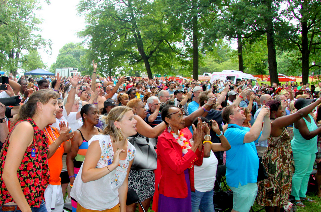 The crowd assembled to watch the mass wedding at the 2013 Pride Festival. (Photo by Fern Shen)