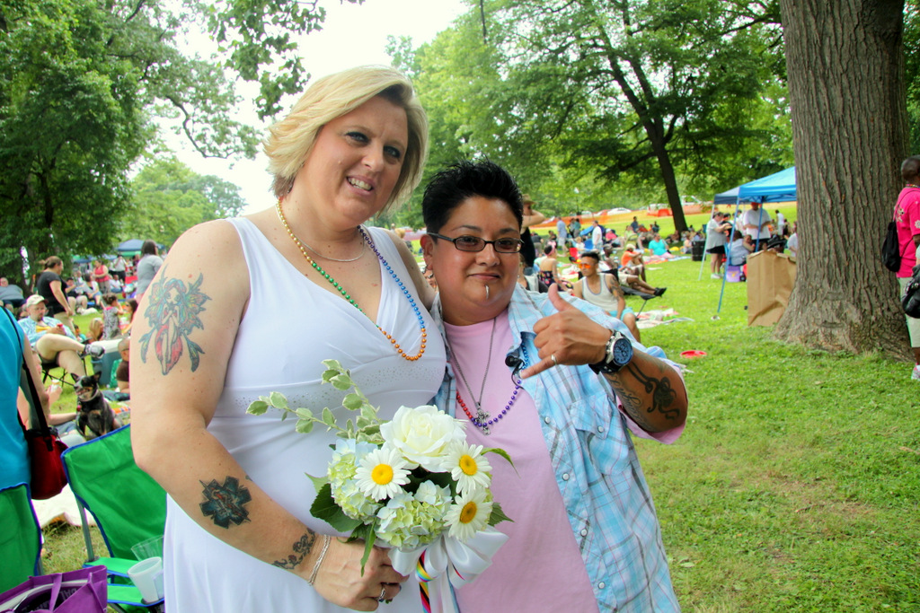 Lisa Tilton and Maria Valentine preparing for the wedding ceremony. (Photo by Fern Shen)