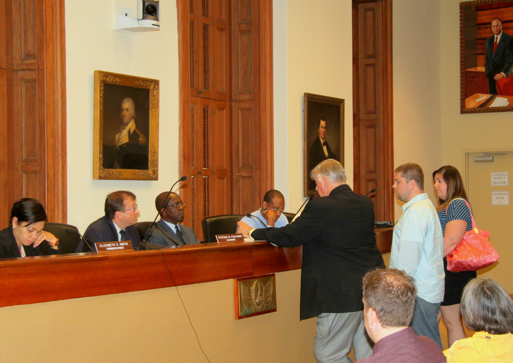 Attorney Melvin Kodesnski representing clients before the Liquor Board in June. (Photo by Fern Shen)