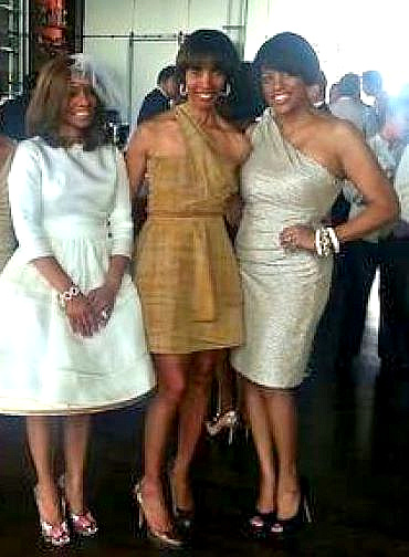 The bride and the mayor, with state Sen. Catherine Pugh in between, taken at the May 21 wedding. (Afro-American Newspapers)