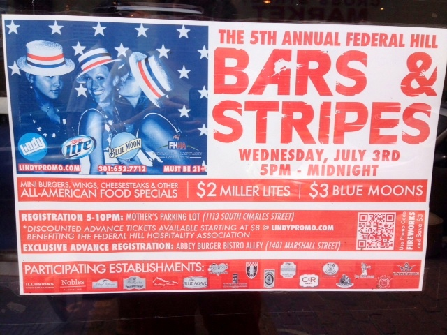 A Fourth of July event poster advertising a bar crawl from 5 p.m. to midnight.