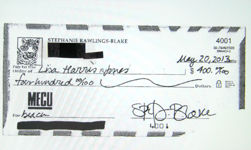 A copy of the $400 check city officials say was made out to Lisa Harris Jones by Mayor Rawlings-Blake for the beach weekend.