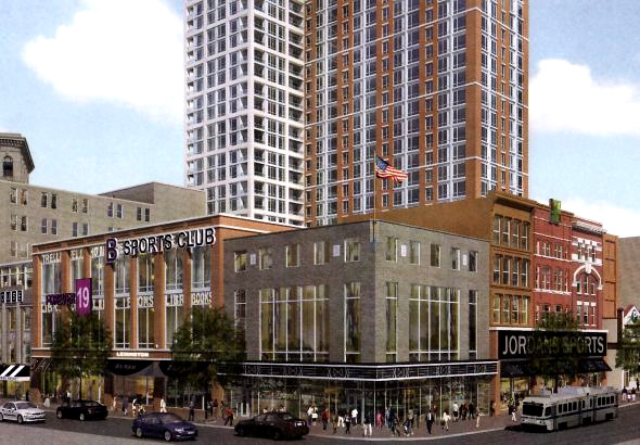 A drawing submitted in 2011 of proposed site at Lexington and Howard Streets. Even after the courts cleared the way for the project to move forward, the developers came up with nothing concrete. (Lexington Square Partners, 2011)