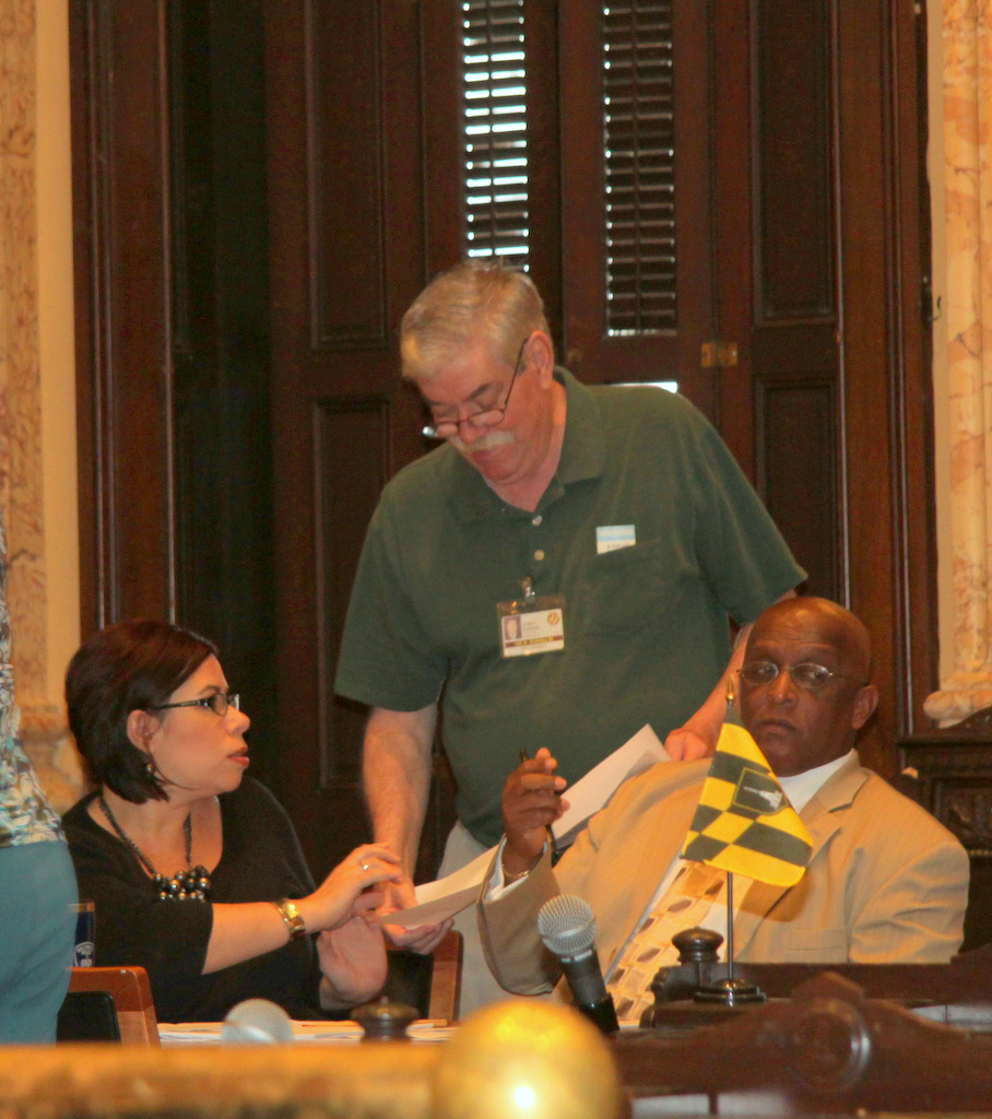 Michelle Wirzberger, Councilman Robert Curran and City Council President Bernard C. Jack Young during yesterday's hearing.