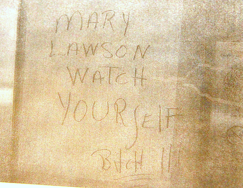 Mary Lawson has pictures of the threatening messages about her scrawled on Bel-Park's elevators. (Photo by Fern Shen)