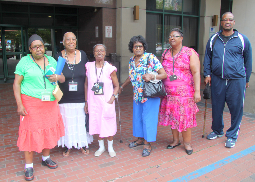 (L-R) Bernadette White, Mary Lawson, Dorothy Stokes, Hazel Randall and Walte Jackson. (Photo by Fern Shen)